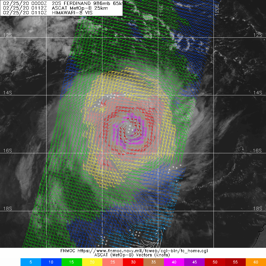 TC 20S(FERDINAND): CAT 1 US and intensifying. 19P(ESTHER): over-land, 25/03UTC update