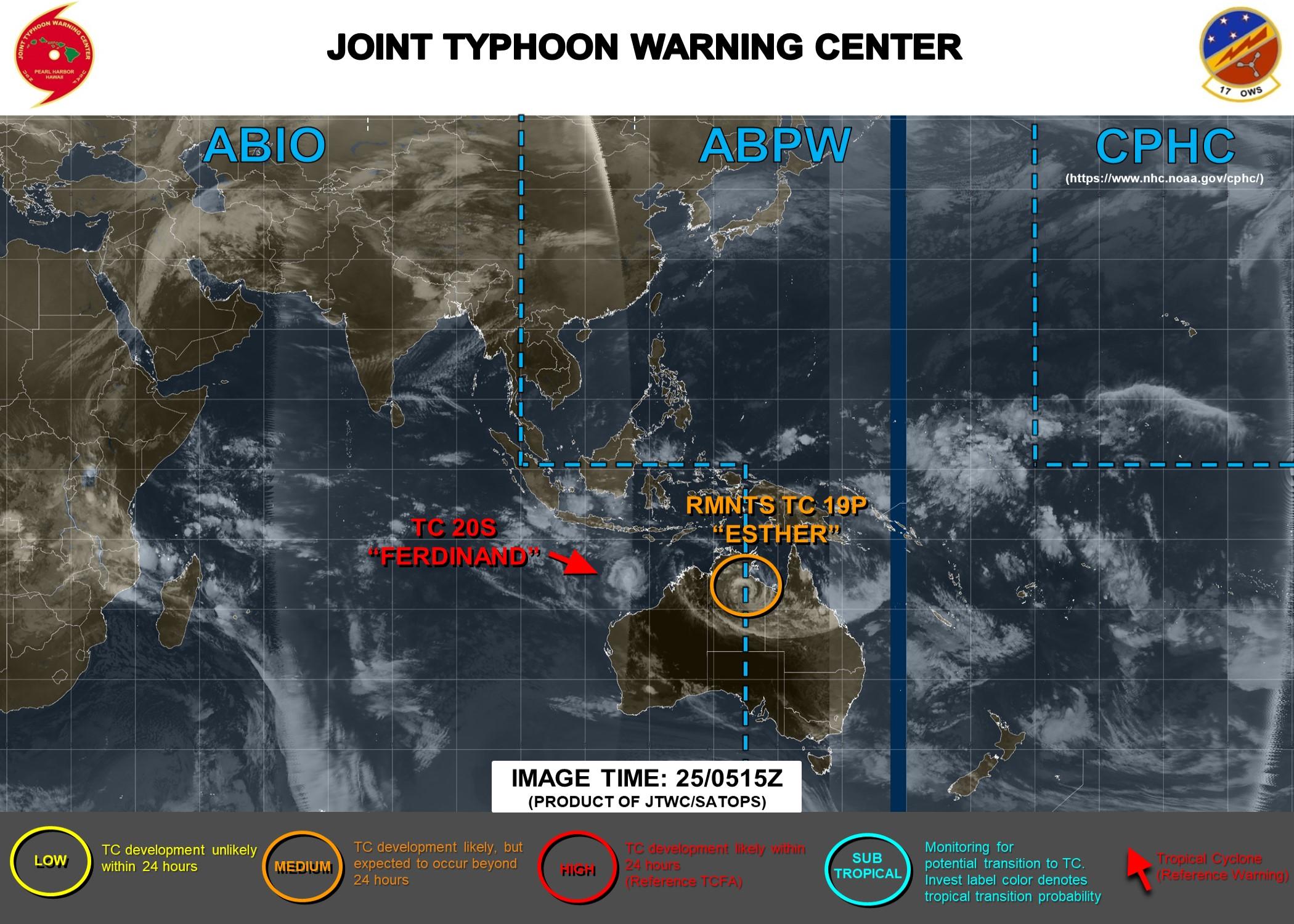 TC 20S(FERDINAND): CAT 2 US and intensifying. 19P(ESTHER): over-land, 25/09UTC update