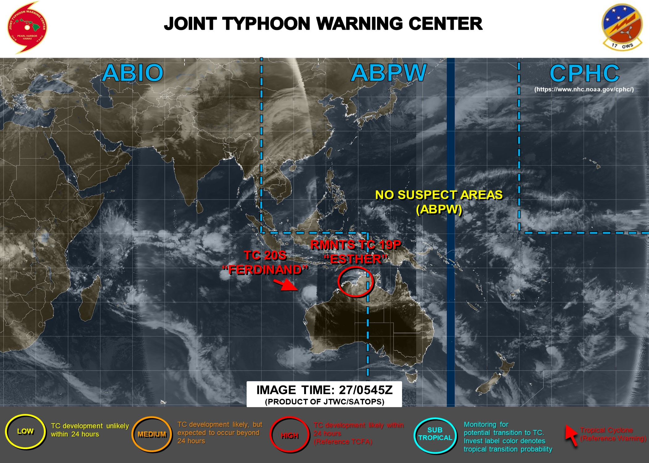 TC 20S(FERDINAND): CAT 1 US weakening rapidly. 19P(ESTHER): Tropical Cyclone Formation Alert