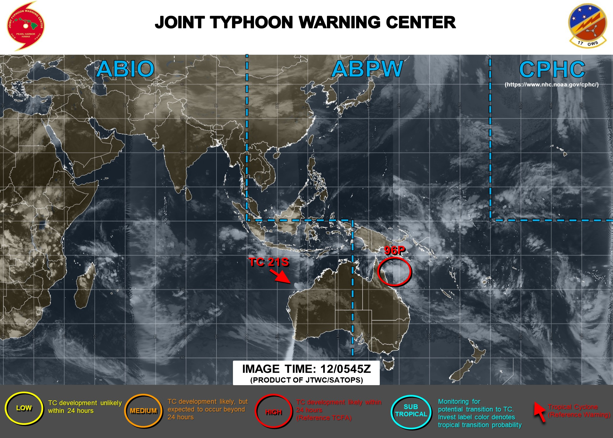 TC 21S, Invest 96P and Invest 91S: updates at 12/06UTC
