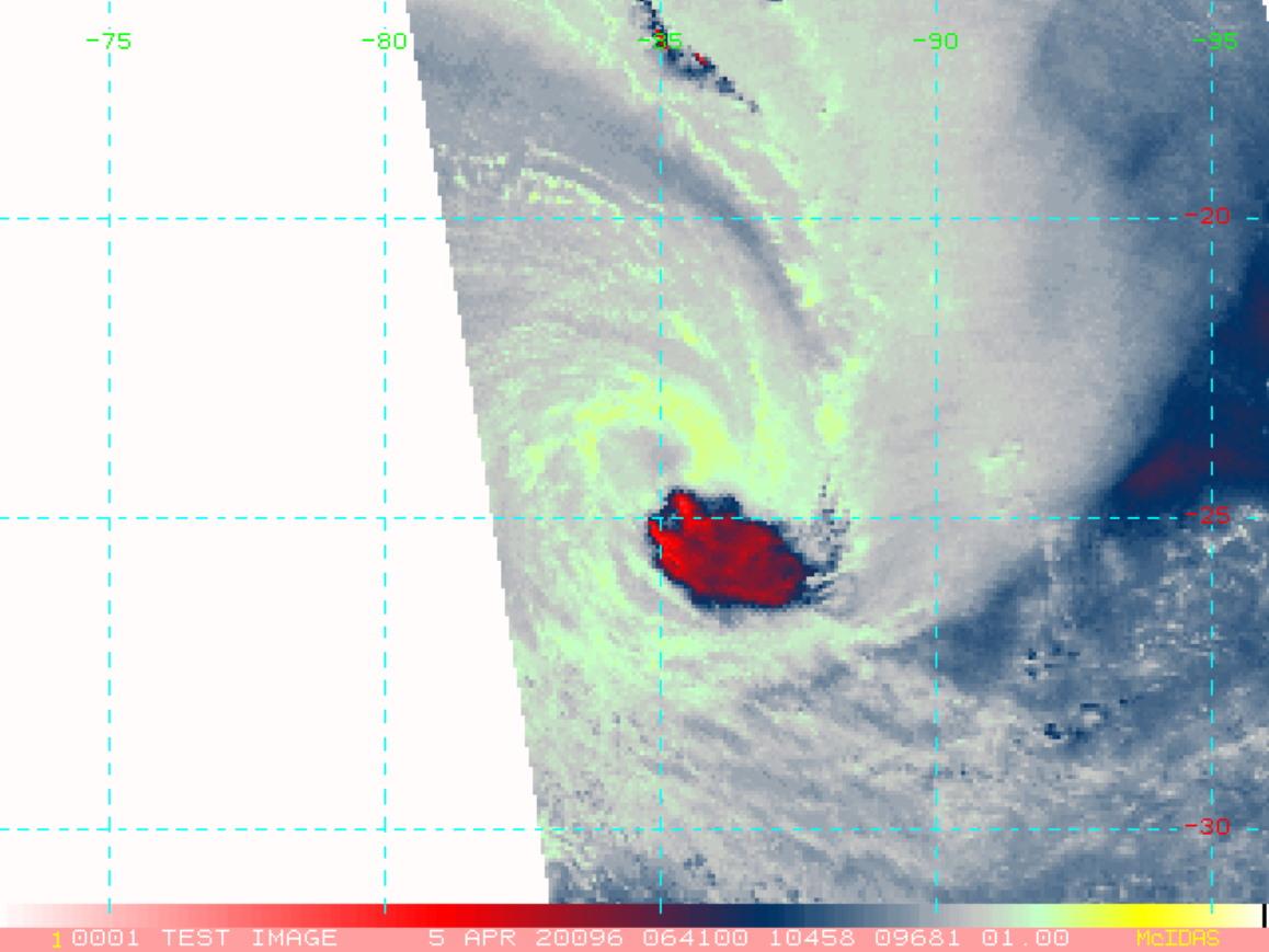 25P(HAROLD) over Northern Vanuatu as a CAT 4 US/ 24S(IRONDRO) weakening rapidly