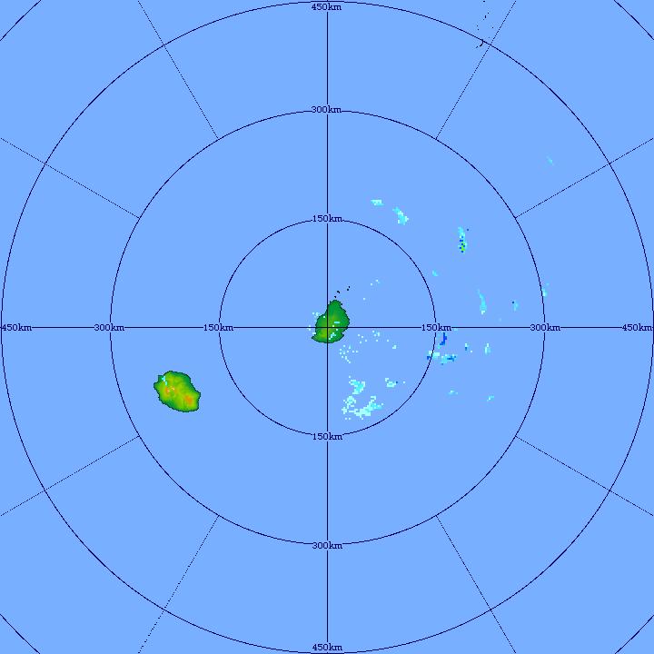 Le radar de TAC montre les averses parfois modérées en approche du large à l'Est Sud-Est de MAURICE. Elles devraient être plus nombreuses et plus fréquentes d'ici ce soir. MMS/VACOAS