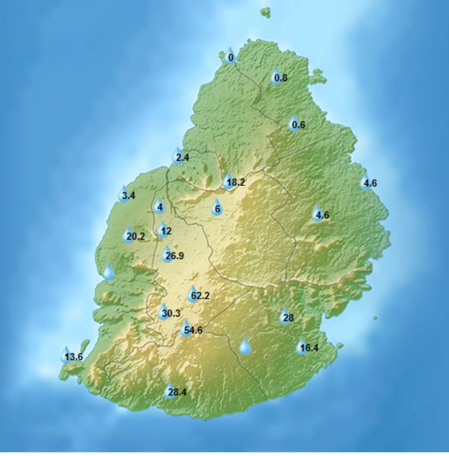 Cumuls de pluie en 24heures enregistrés par les stations de MMS/Vacoas. 04heures, Vendredi 18.