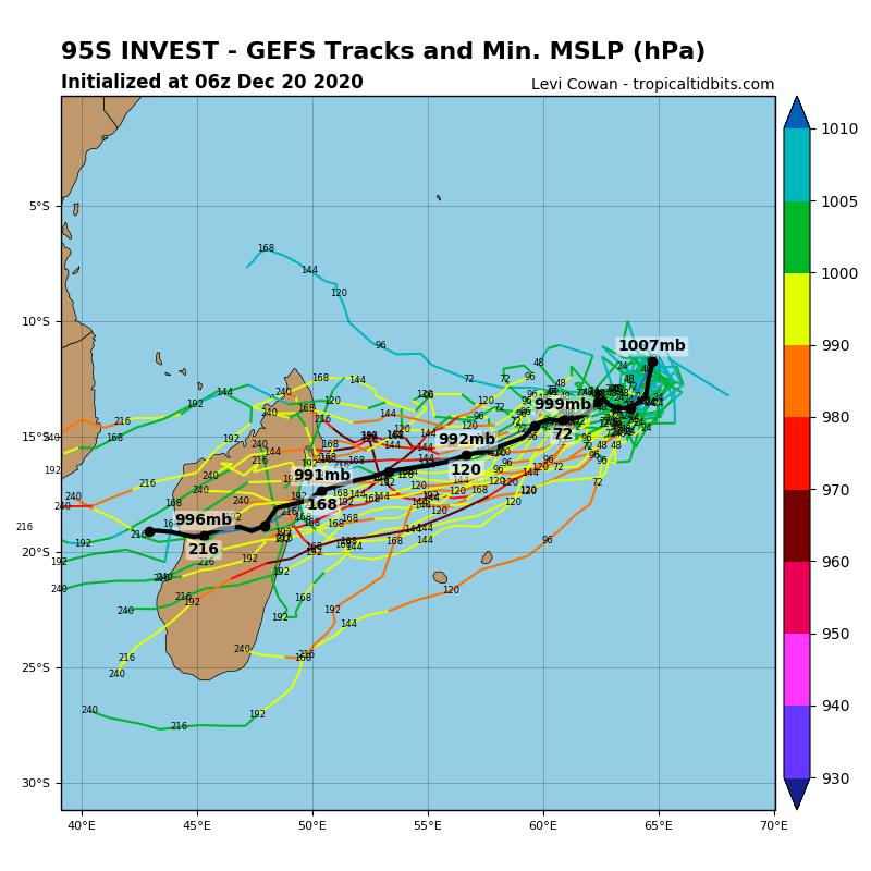 Simulations du modèle GFS à 10heures ce Dimanche. La simulation de trajectoire médiane est en noire.