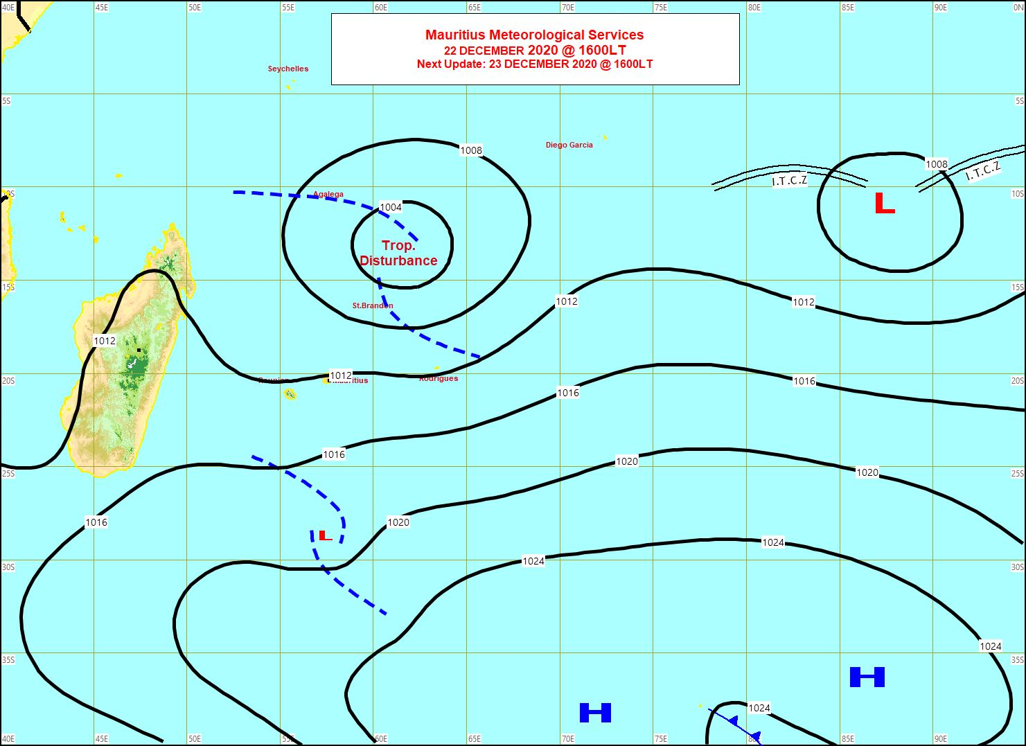 Carte de la situation de surface émise par la météo mauricienne à 16h ce Mardi. 95S se rapproche de Saint Brandon, alors que loin à l'Est des Chagos la zone 93S persiste mais ne montre toujours pas de signes patents d'organisation pour le moment. MMS/Vacoas