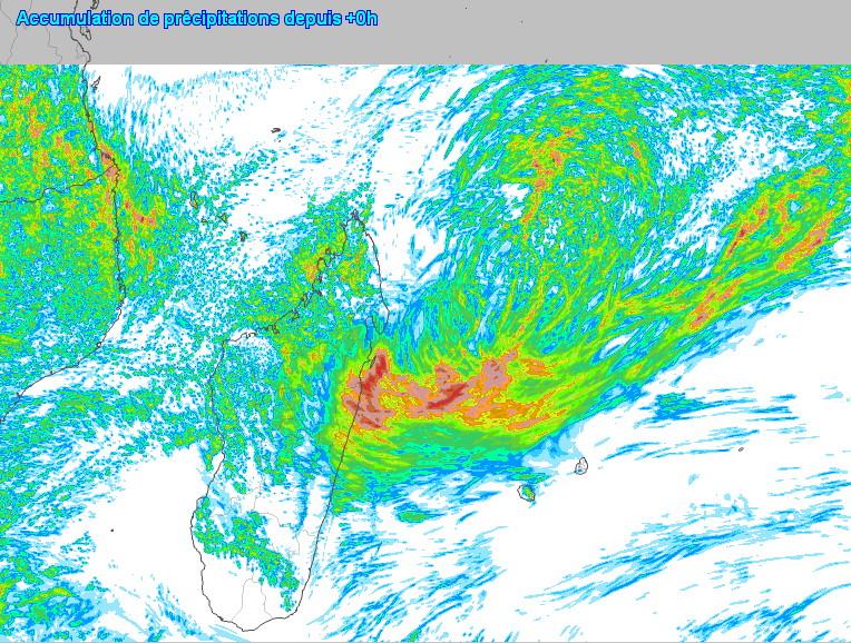 D'ici Samedi soir la côte Est de la Grande Ile dans les régions de Sainte-Marie et de Toamasina semble promise à des précipitations significatives. Arome. Météo France. MCIEL.