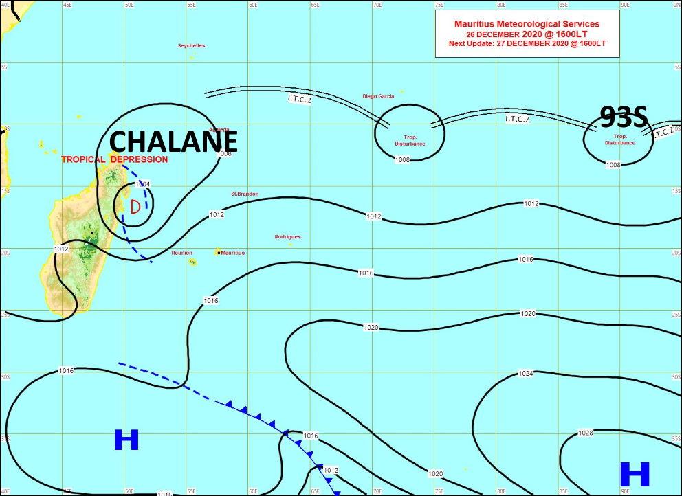 Les 3 systèmes suivis sont bien repérables sur la carte synoptique de la météo mauricienne émise à 16heures ce Samedi. MMS/Vacoas.