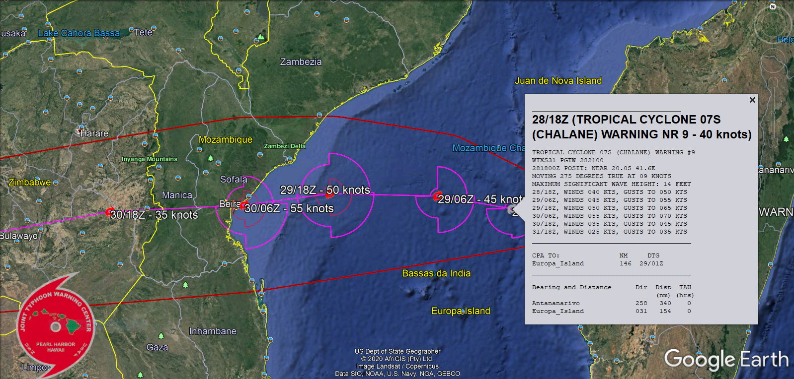 DUE TO THE VERY WARM  SST/OHC, A SLIGHT POSSIBILITY OF A HIGHER INTENSITY REMAINS NEAR 36H JUST PRIOR TO LANDFALL NEAR BEIRA, MOZAMBIQUE.