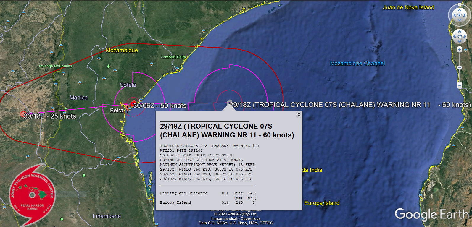 LANDFALL FORECAST IN APPRX 12H NEAR BEIRA/MOZAMBIQUE WITH TOP GUSTS NEARING 150KM/H CLOSE TO THE CENTER.