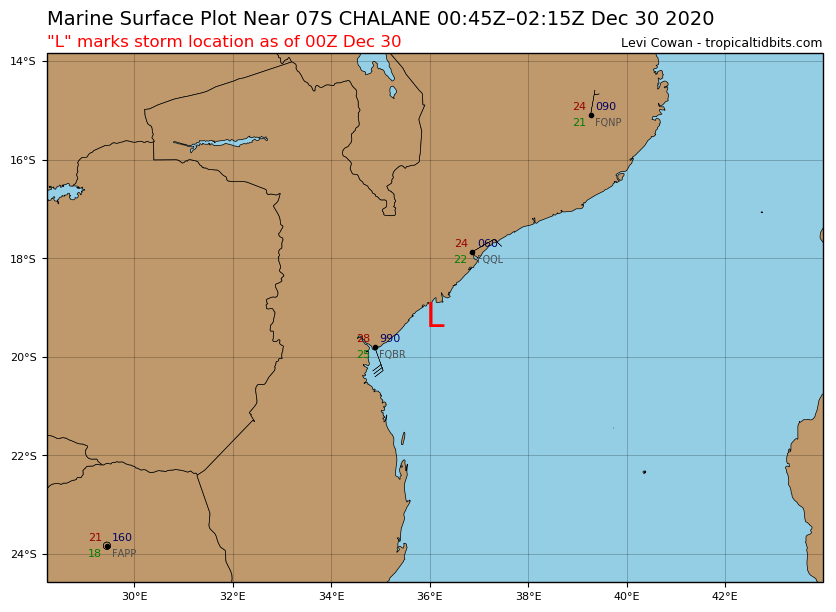 L= CENTER LOCATION AT 30/00UTC FOR TC 07S(CHALANE): APPRX 145KM NORTHEAST OF BEIRA/MOZAMBIQUE.