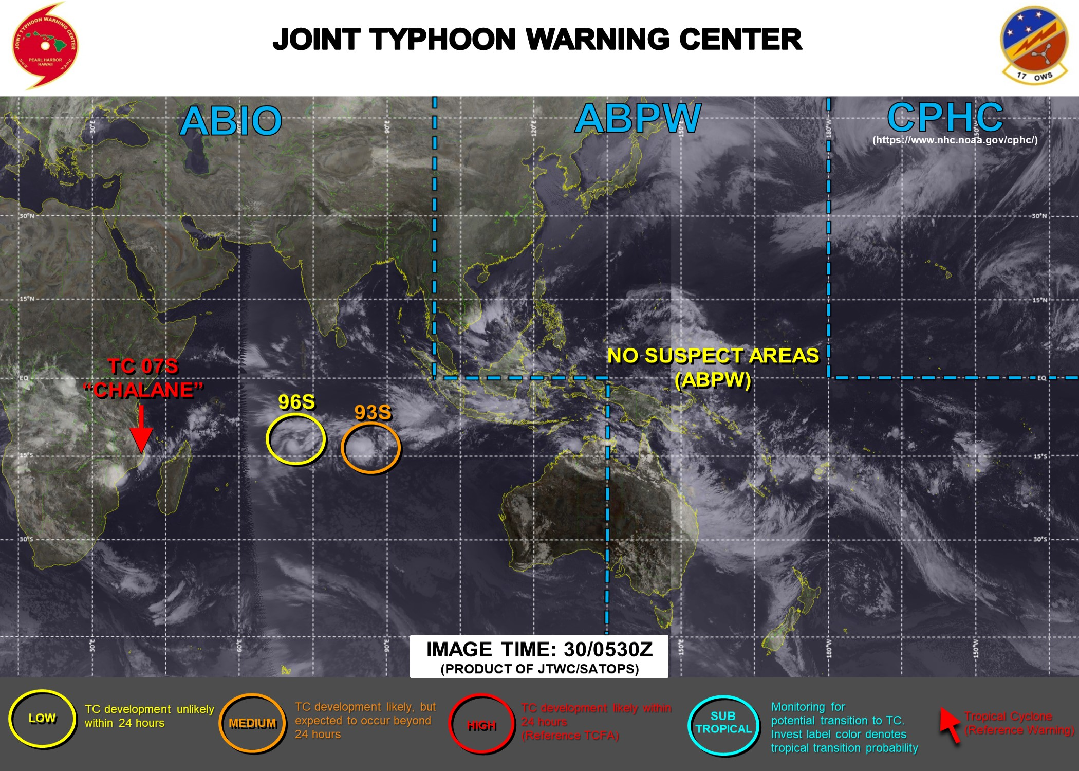 TC 07S: OVER-LAND AND WEAKENING. 93S: MEDIUM CHANCES OF SUSTAINED 35KNOTS WINDS NEAR THE CENTER WITHIN 24HOURS. 96S: LOW CHANCES. UPDATE AT 30/06UTC.