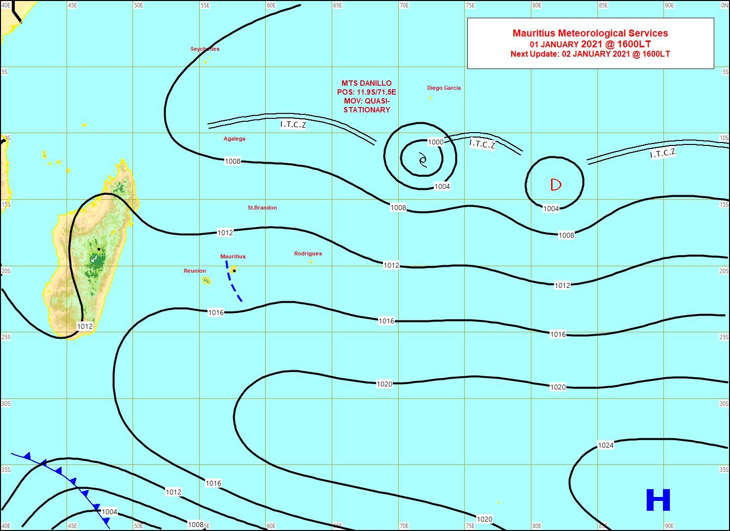 Carte synotique. Analyse de surface de 16heures ce Vendredi. MMS/Vacoas.