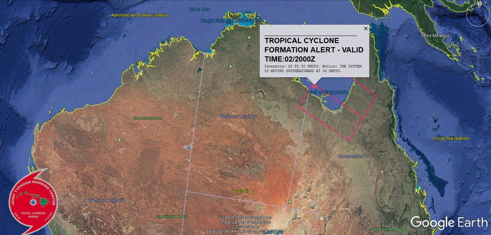 INVEST 97P: TROPICAL CYCLONE FORMATION ALERT. APPROXIMATELY 110 KM NORTHWEST OF MORNINGTON ISLAND, AUSTRALIA AT 02/18UTC.