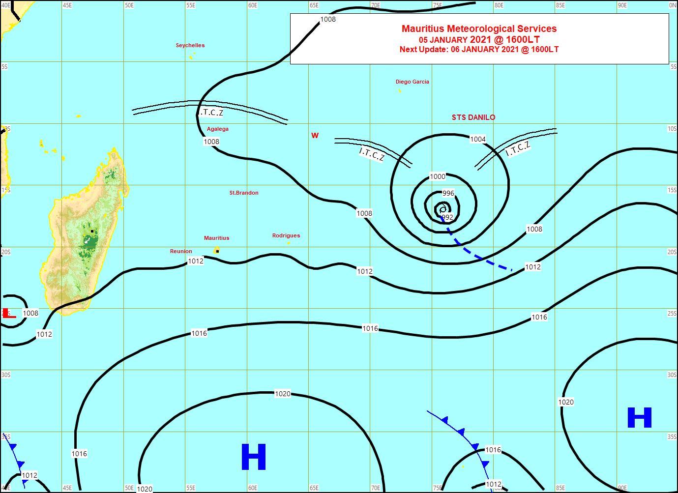 Analyse de la situation de surface ce Mardi à 16heures émise par la météo de Maurice. MMS/Vacoas.