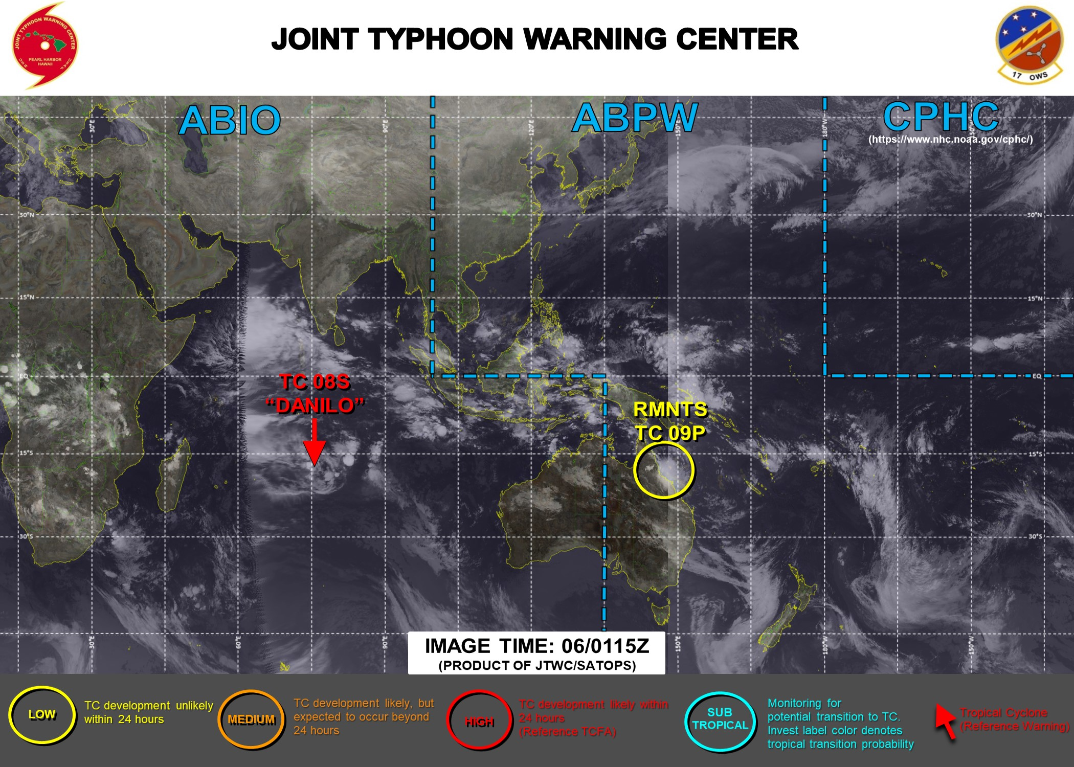 06/0115UTC. JTWC HAVE BEEN MONITORING THE REMNANTS OF TC 09P(IMOGEN) WHICH IS BACK OVER OPEN WATER APPROXIMATELY 150 KM SOUTH-SOUTHEAST OF CAIRNS, AUSTRALIA.