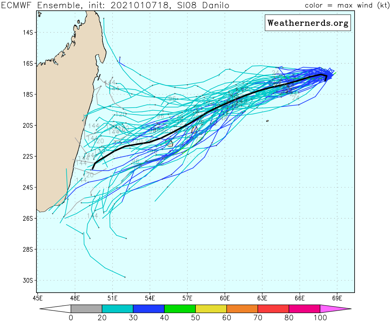 07/18UTC. TRACK AND INTENSITY GUIDANCE. THE EUROPEAN MODEL IS ONCE AGAIN TO THE NORTH OF MAURITIUS/RÉUNION.