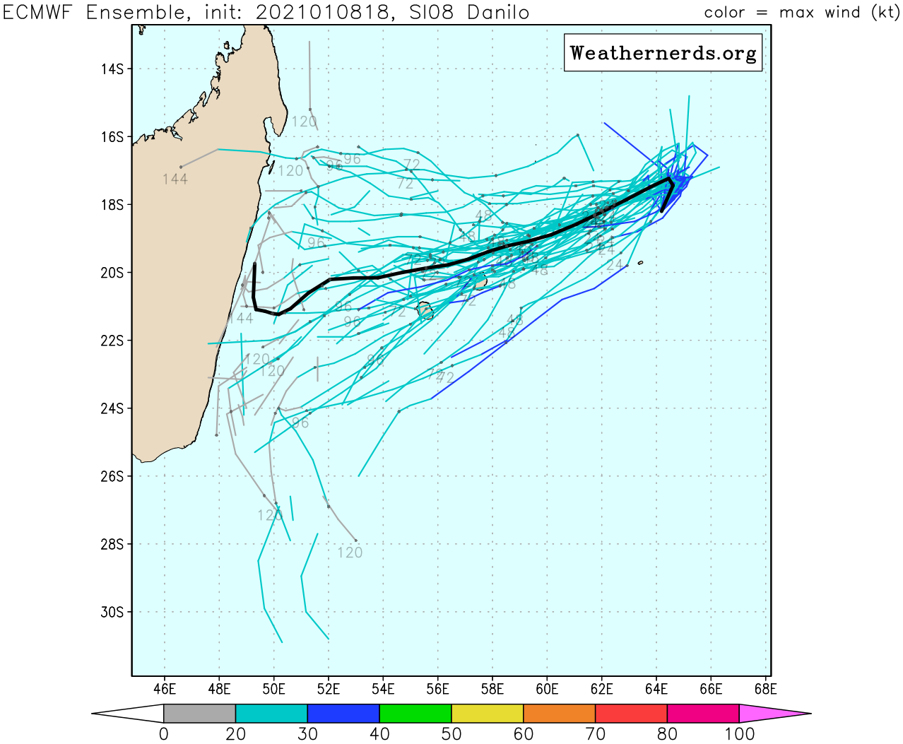 08/18UTC. THE EUROPEAN MODEL TRACKS A WEAK SYSTEM TO THE NORTH OF THE MAURITIUS/RÉUNION AREA