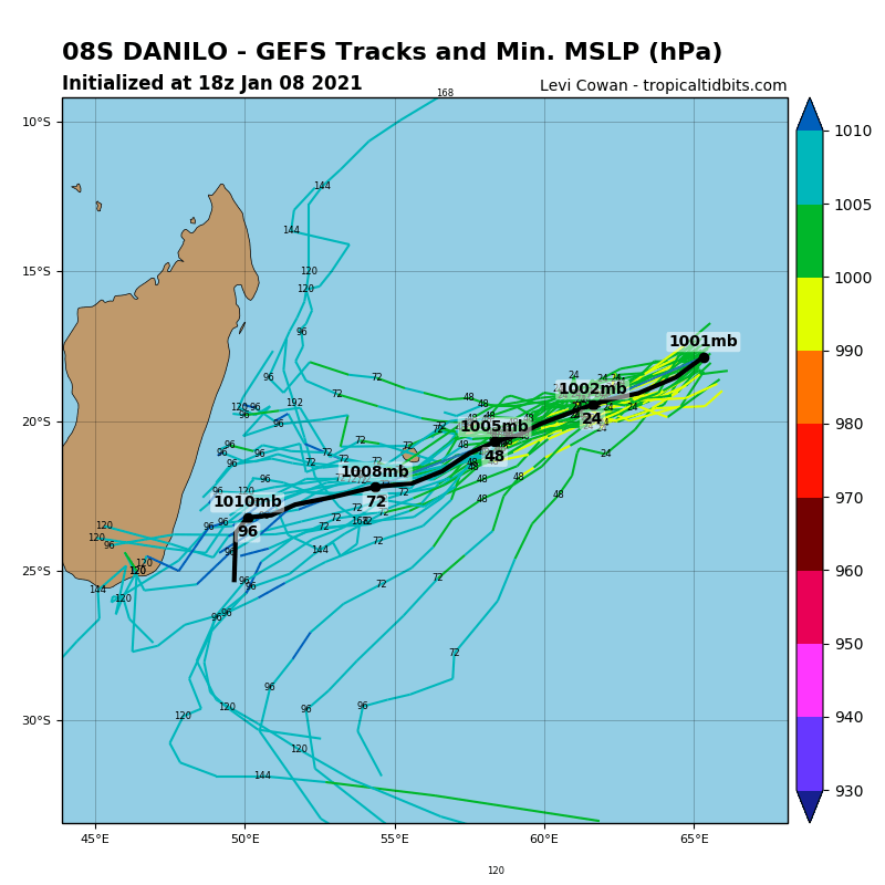 08/18UTC. GFS TRACKS A WEAKENING SYSTEM TO THE SOUTHEAST OF MAURITIUS/RÉUNION.