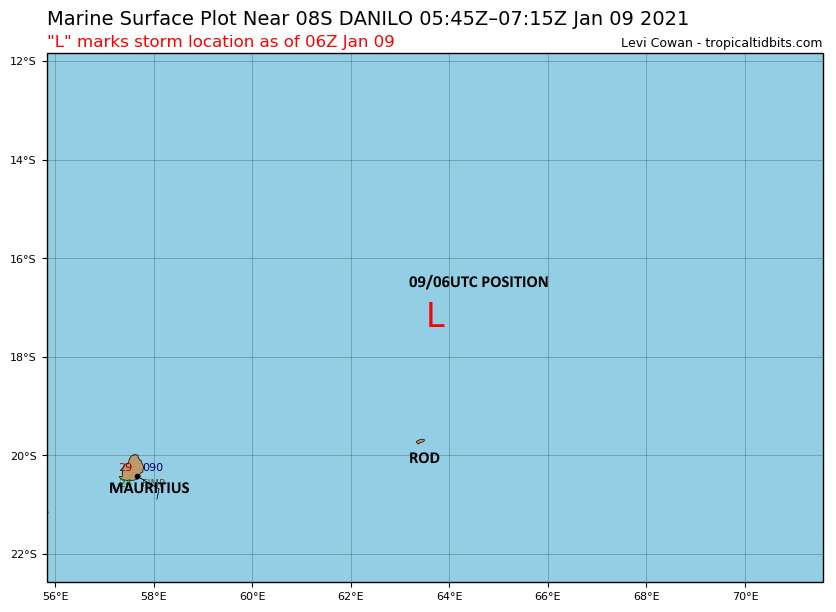 09/06UTC.REMNANTS OF 08S(DANILO): LOCATED APPRX 280KM NNE OF RODRIGUES, 715KM ENE OF MAURITIUS AND 940KM ENE OF RÉUNION. BEING CLOSELY MONITORED FOR SIGNS OF REGENERATION.