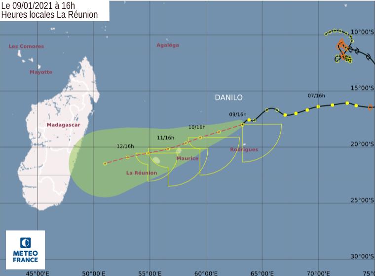 Le CMRS de la Réunion prévoit toujours le passage des résidus de DANILO à proximité Nord des ILES SOEURS. Prévisions émises à 16heures ce Samedi.