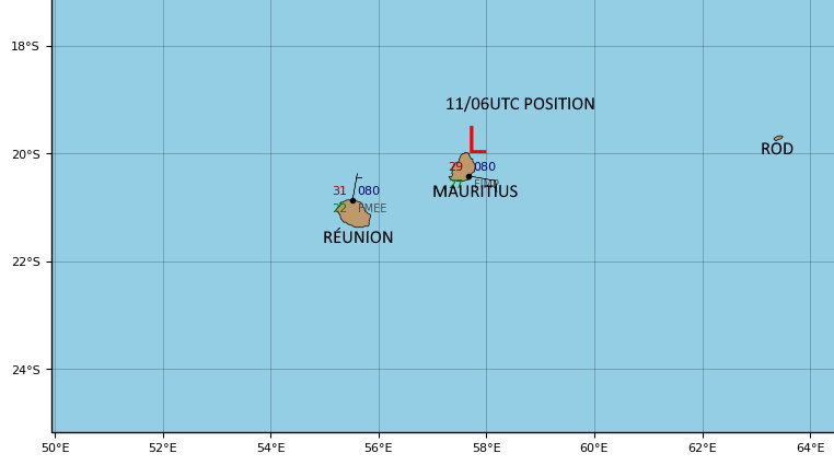 REMNANTS OF 08S(DANILO). VERY WEAK SYSTEM LOCATED APPRX 65KM TO MAURITIUS AT 11/06UTC.