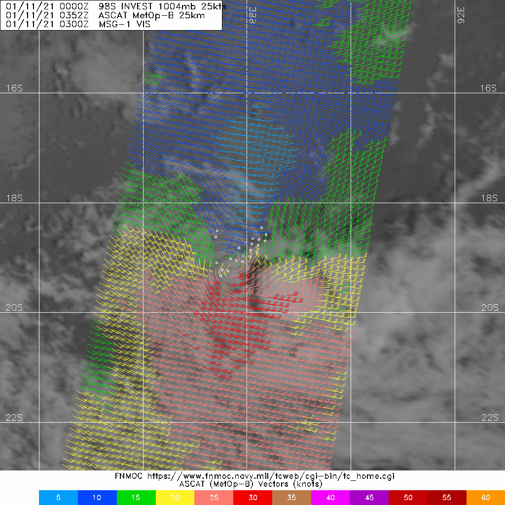 11/0352UTC. INVEST 98S. ASCAT DEPICTED STRONG WINDS SOUTH OF THE EXPOSED LOW LEVEL CIRCULATION CENTER WHICH HAS BECOME LESS DEFINED.