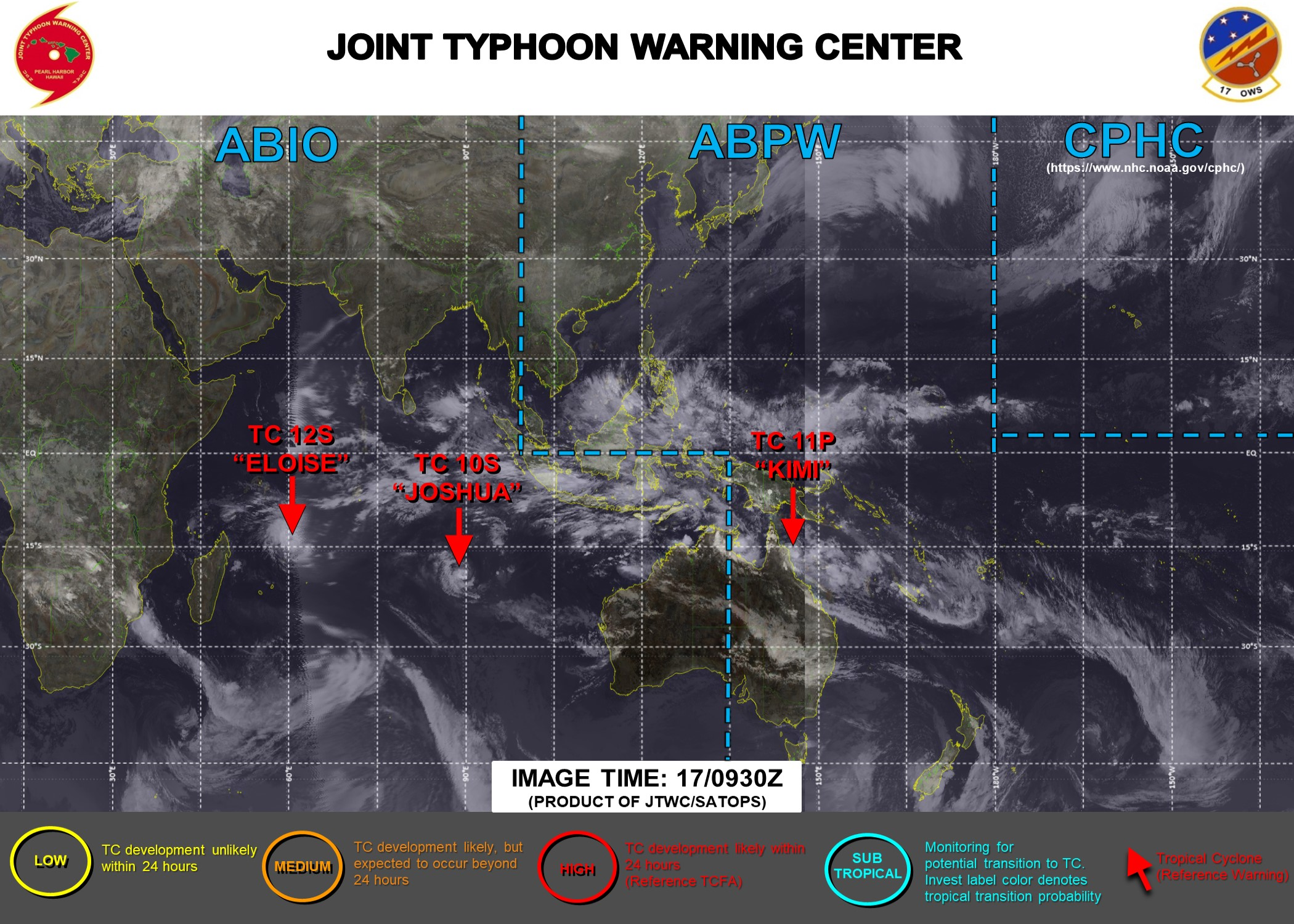 THE JTWC IS ISSUING 12HOURLY WARNINGS ON 10S(JOSHUA) AND 12S(ELOISE) AND 6HOURLY WARNINGS ON 11P(KIMI). 3HOURLY SATELLITE BULLETINS ARE PROVIDED FOR THE 3 SYSTEMS.