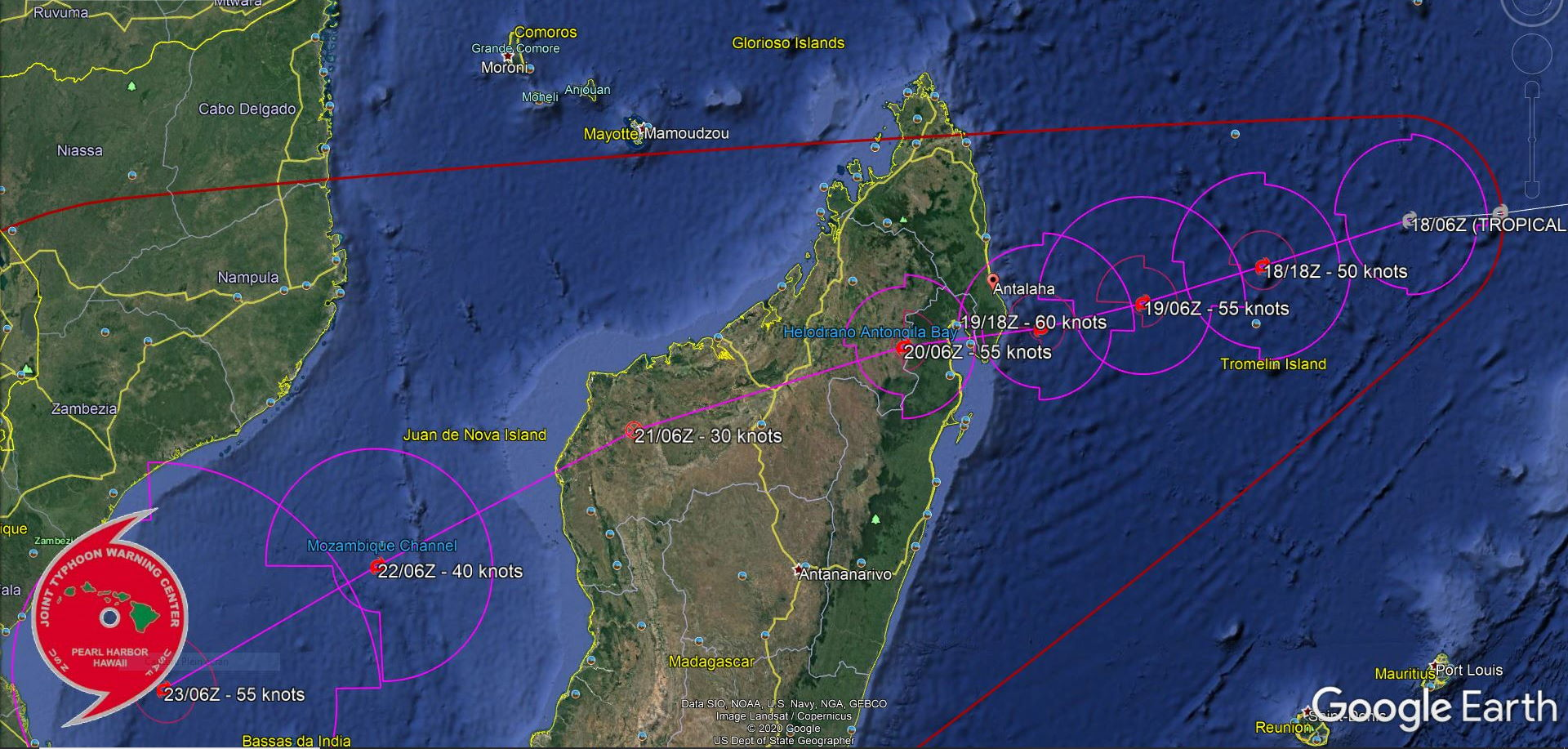 12S(ELOISE). WARNING 3. FORECAST TO TRACK WEST- SOUTHWESTWARD THROUGH THE FORECAST PERIOD ALONG THE NORTHWESTERN  FLANK OF A DEEP-LAYERED SUBTROPICAL RIDGE ENTRENCHED TO THE  SOUTHEAST AND SOUTH. 12S IS FORECAST TO STEADILY  INTENSIFY TO A PEAK OF 60 KNOTS BY 36H AS IT APPROACHES THE  NORTHEAST COAST OF MADAGASCAR JUST SOUTH OF ANTALAHA. THE SYSTEM WILL WEAKEN RAPIDLY AFTER  MAKING LANDFALL NEAR 48H, AND INTENSITY WILL FALL BELOW 35KNOTS OVER THE MOUNTAINOUS  TERRAIN OF MADAGASCAR BY 72H. AFTER 72H, 12S IS FORECAST TO  RE-INTENSIFY AS IT EMERGES OVER THE MOZAMBIQUE CHANNEL.