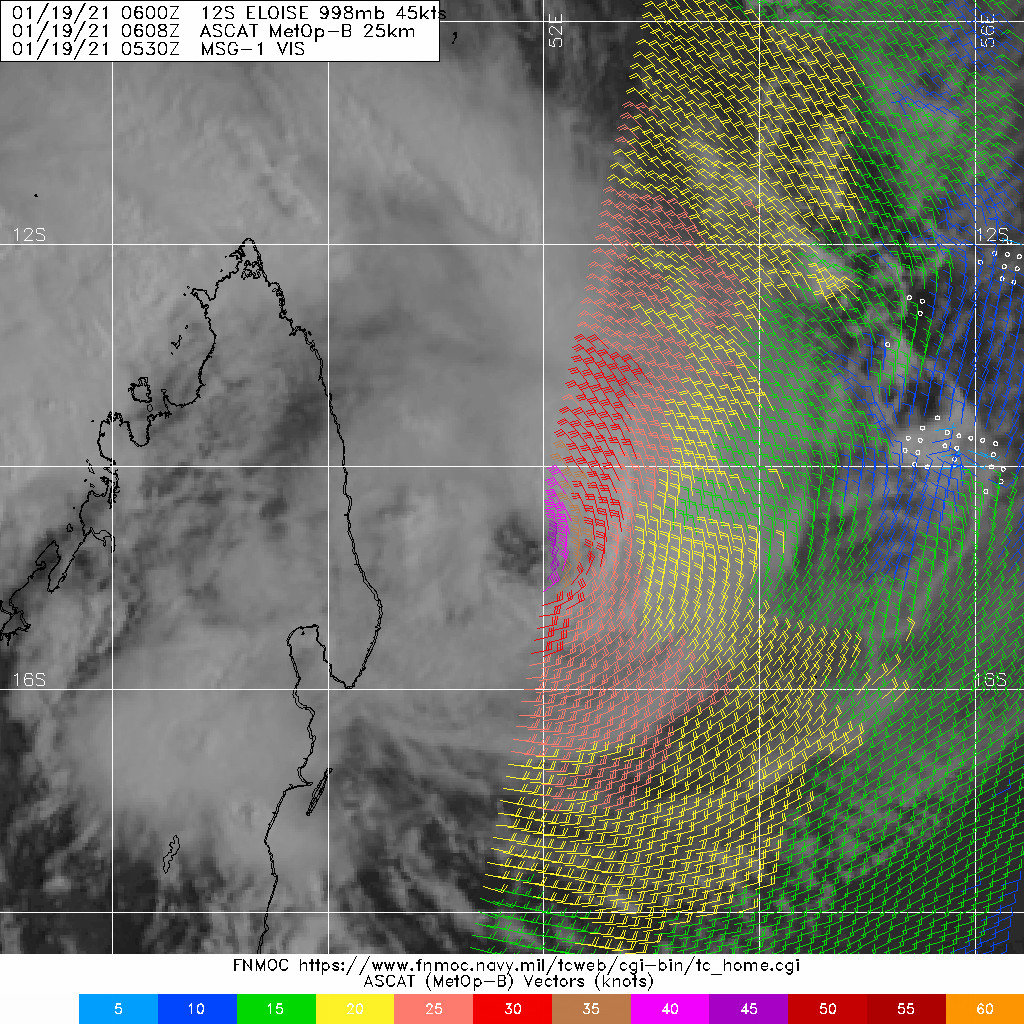 19/0608UTC. METOP-B PARTIAL ASCAT IMAGE WITH A SWATH OF 45- 50 KT WINDS SOUTHEAST OF THE LOW LEVEL CIRCULATION CENTER.