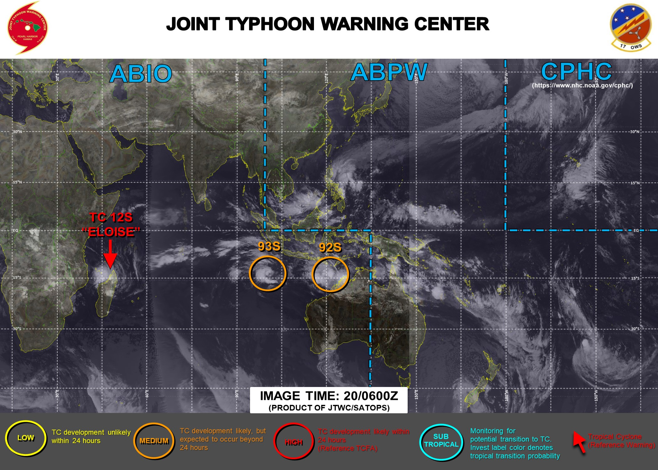 20/06UTC. THE JTWC IS ISSUING 12HOURLY WARNINGS ON 12S(ELOISE) ALONG WITH 3HOURLY SATELLITE BULLETINS ON 12S AND INVEST 93S. INVEST 92S &93S ARE UNDER CLOSE WATCH.