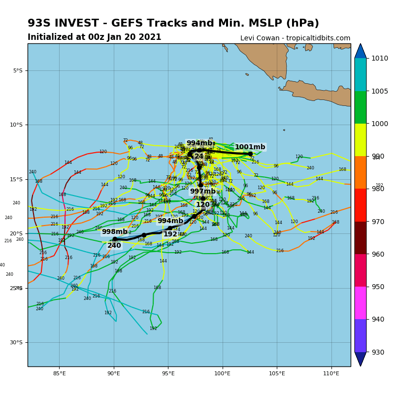 INVEST 93S. GFS DEPICTS DEVELOPMENT WITHIN 24/36H.