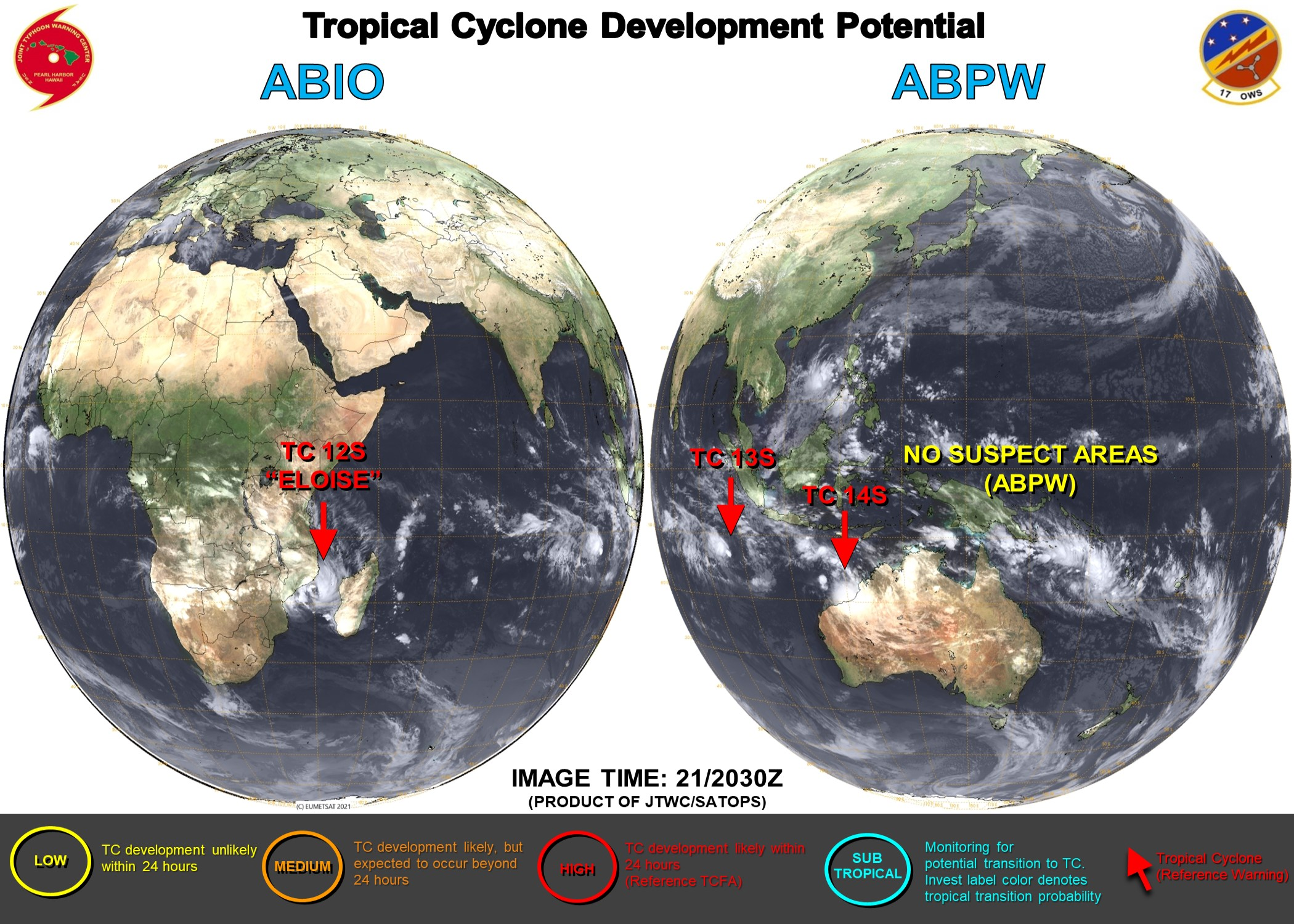 21/2030UTC. THE JTWC IS ISSUING 6HOURY WARNINGS ON 14S(NONAME) AND 12HOURLY WARNINGS ON 12S(ELOISE) AND 13S(NONAME). 3 HOURLY SATELLITE BULLETINS ARE PROVIDED FOR THE 3 SYSTEMS.
