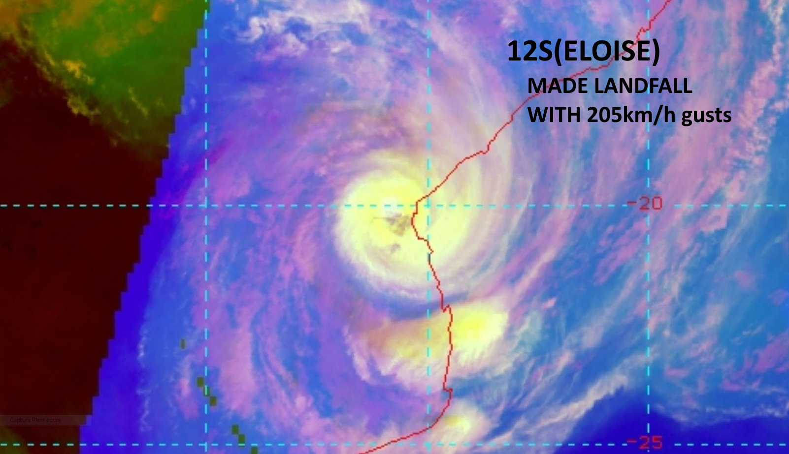 23/0314UTC. THE CYCLONE'S CORE REMAINED COMPACT AND WELL ORGANIZED JUST AFTER LANDFALL BUT WILL RAPIDLY UNRAVEL NEXT 24/48H.