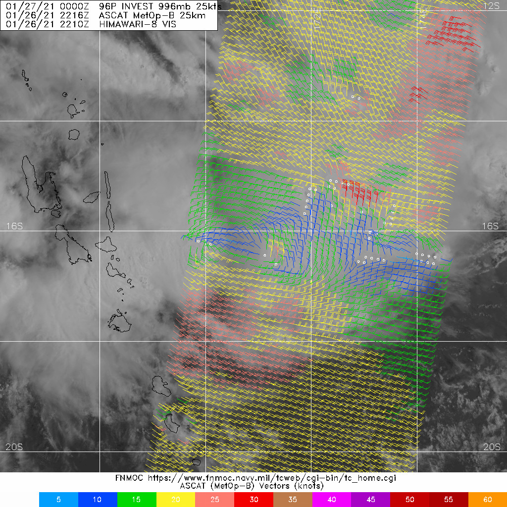INVEST 96P. 26/2216UTC. ASCAT DEPICTED THE NASCENT LOW LEVEL CIRCULATION CENTER STILL ELONGATED TO THE EAST OF VANUATU.