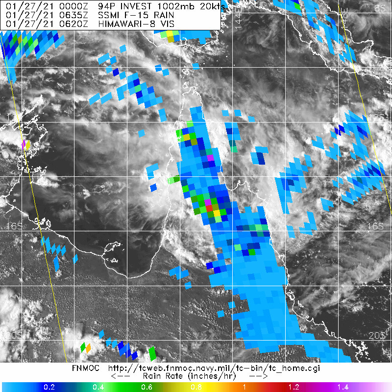 INVEST 94P. 27/0635UTC. OVER-LAND DISTURBANCE DELIVERING THUNDER-STORMS AND LOCALISED HEAVY RAINFALL OVER NORTHERN QUEENSLAND.