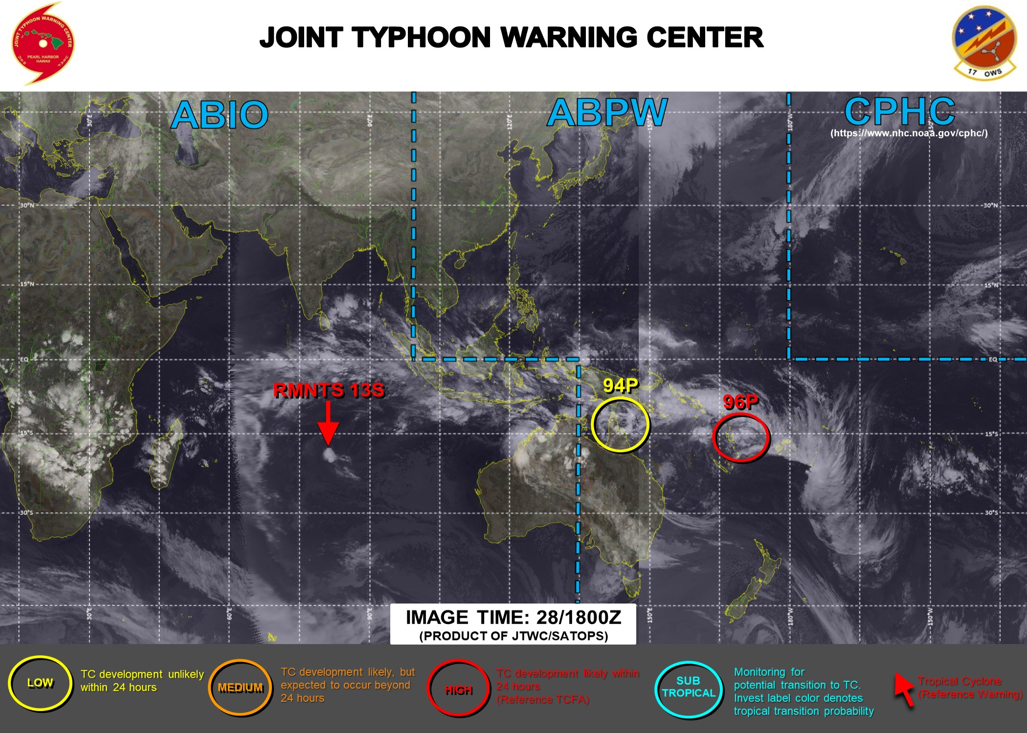 JTWC HAS BEEN ISSUING 3 HOURLY SATELLITE BULLETINS ON THE REMNANTS OF 13S(NONAME) AND INVEST 96P. INVEST 96P HAS BEEN UP-GRADED TO HIGH FOR THE NEXT 24HOURS.