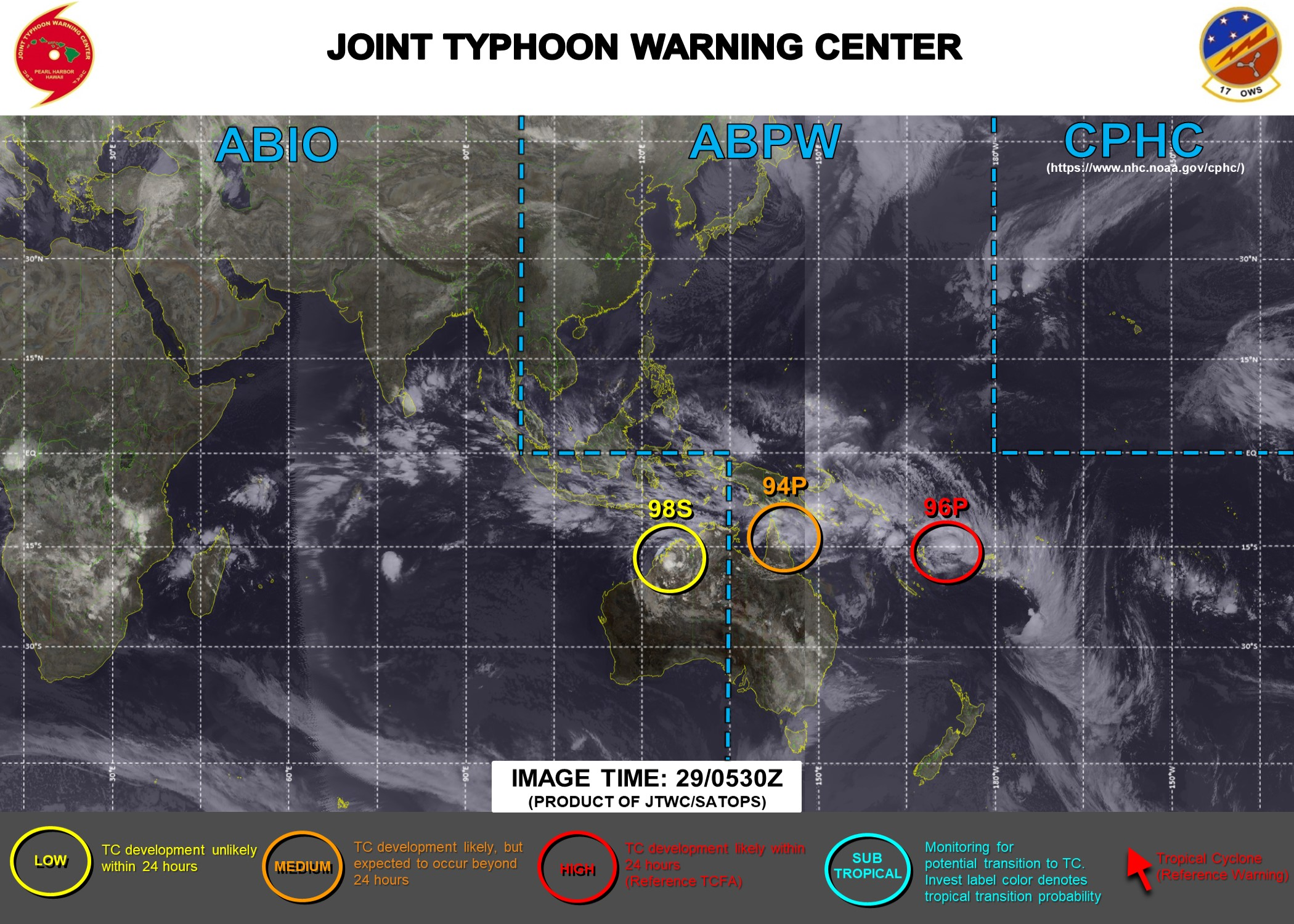 29/0530UTC.JTWC HAS BEEN ISSUING 3HOURLY SATELLITE BULLETINS ON INVEST 96P. INVEST 94P HAS BEEN UP-GRADED TO MEDIUM WHILE INVEST 98S IS NOW UNDER CLOSE WATCH. THE REMNANTS OF 13S(NONAME) ARE STILL BEING MONITORED.