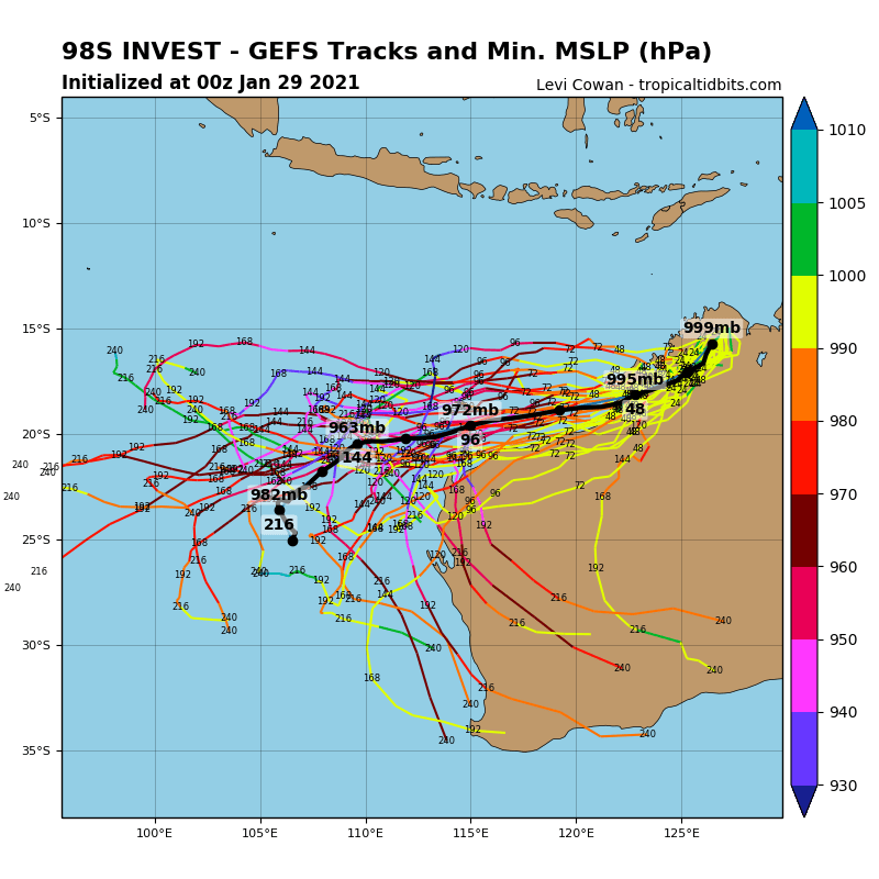 INVEST 98S. GLOBAL MODELS ARE IN GOOD AGREEMENT THAT INVEST 98S WILL TRACK WEST- SOUTHWESTWARD ALONG THE COAST AS IT STRENGTHENS, CONSOLIDATES, AND LATER ON MOVE INTO THE SOUTH INDIAN OCEAN.