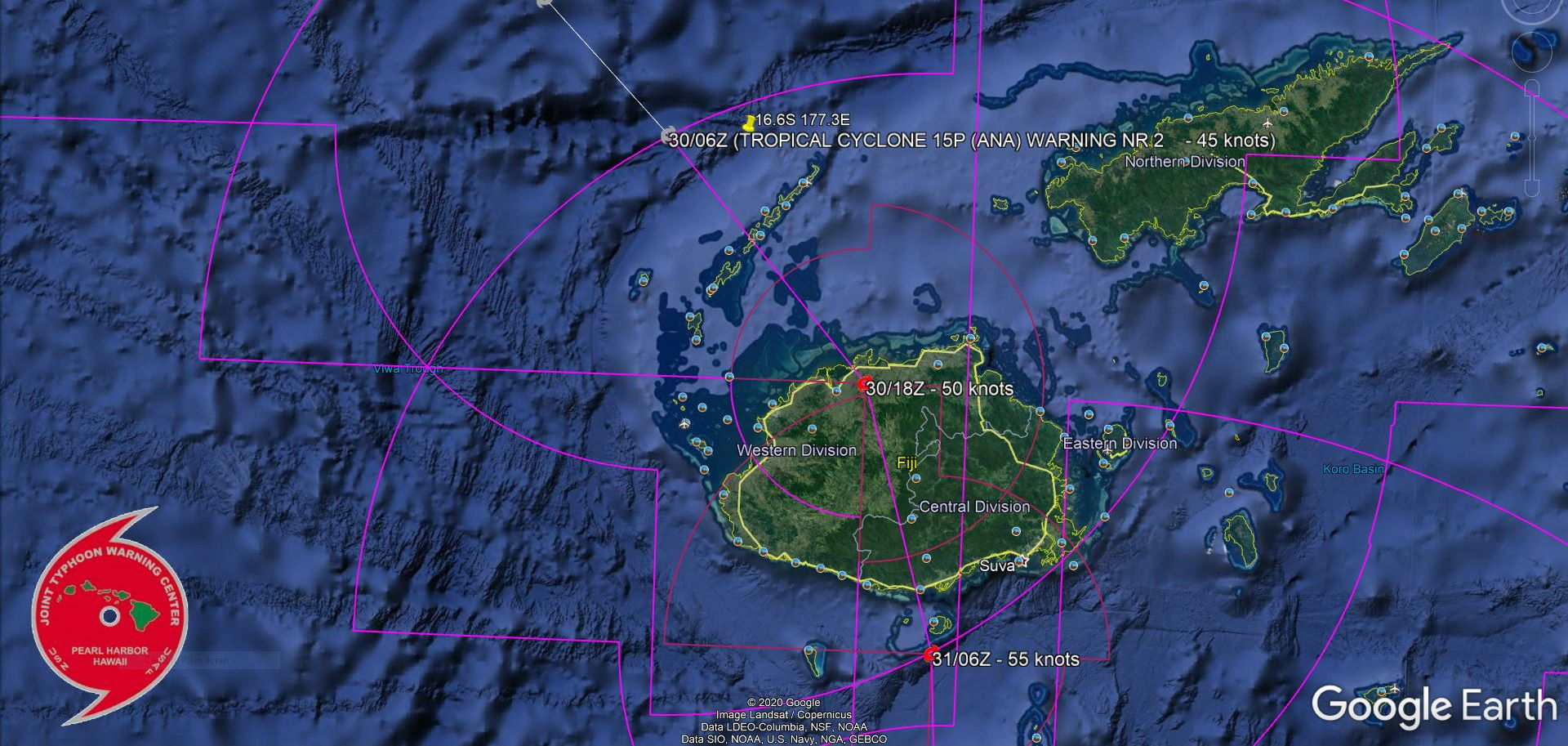 15P(ANA). FORECAST TO TRACK OVER VITI LEVU NEXT 24H WHILE INTENSIFYING. THE 30/09UTC SATELLITE POSITION IN INDICATED ON THE MAP.