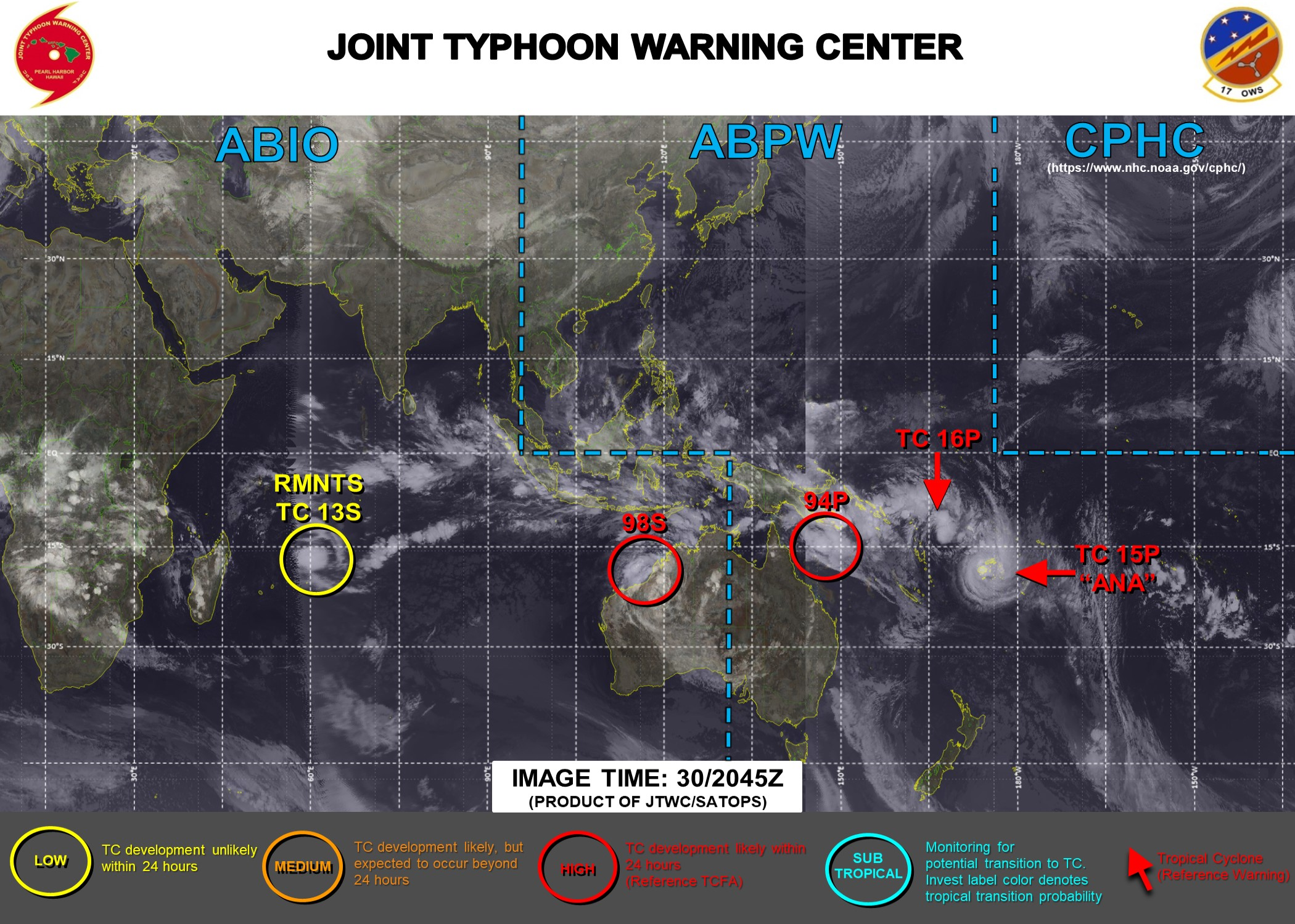 INVEST 99P IS NOW TC 16P. JTWC HAS BEEN ISSUING 6HOURLY WARNINGS ON 15P(ANA) AND 16P(NONAME). 3HOURLY SATELLITE BULLETINS ARE PROVIDED FOR 15P AND 16P ALONG WITH INVEST 94P AND INVEST 98S.