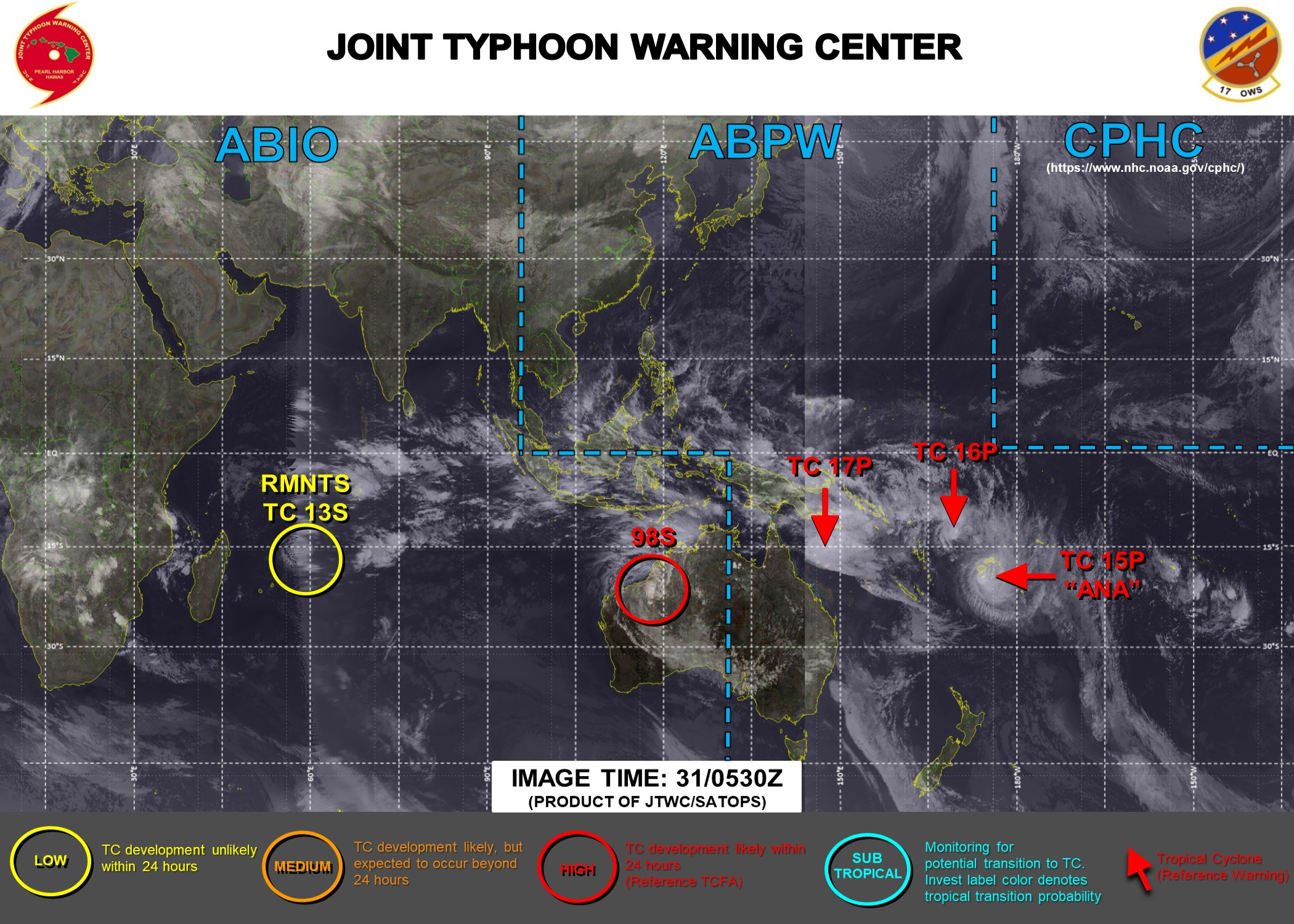 31/06UTC. JTWC HAS BEEN ISSUING 6 HOURLY WARNINGS ON 15P(ANA), 16P AND 17P. 3 HOURLY SATELLITE BULLETINS ARE PROVIDED FOR 15P,16P,17P AND INVEST 98S.