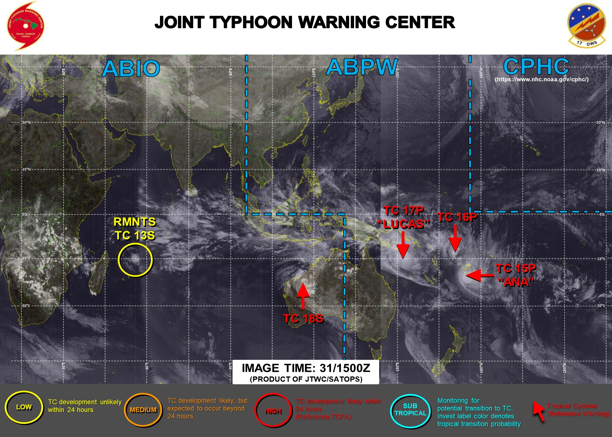 JTWC IS ISSUING 6HOURLY WARNINGS ON 15P(ANA), 16P, 17P(LUCAS), 18S. 3 HOURLY SATELLITE BULLETINS ARE PROVIDED FOR THE 4 CYCLONIC SYSTEMS.