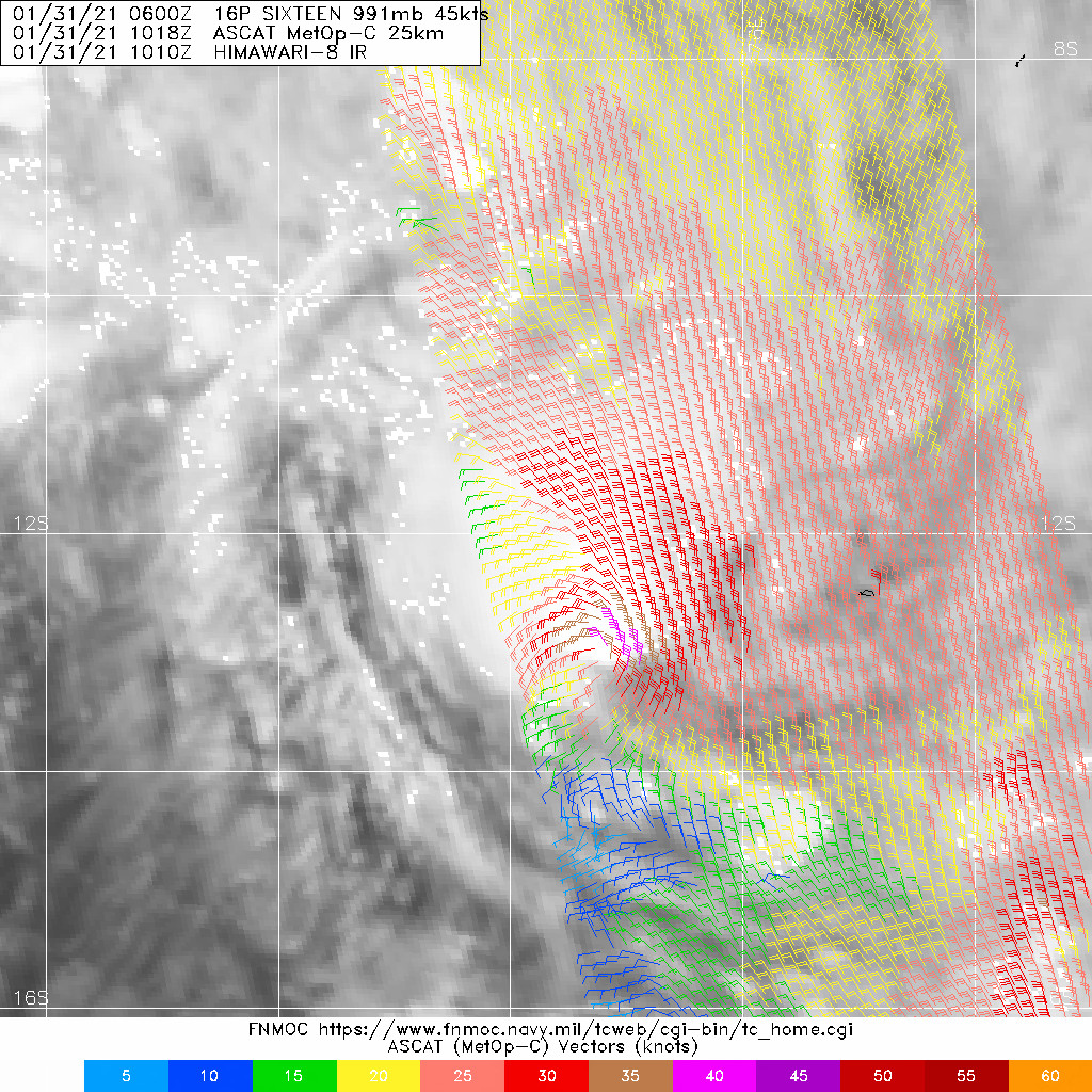 16P. 31/1018UTC.ASCAT-C IMAGE REVEALS A DEFINED CENTER,  WHICH SUPPORTS THE INITIAL POSITION WITH FAIR CONFIDENCE, WITH 40-45  KNOT WINDS OVER THE NORTHEAST QUADRANT.
