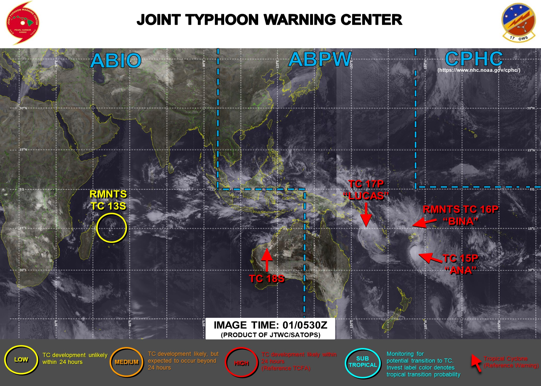 01/06UTC. JTWC IS ISSUING 6HOURLY WARNINGS ON 15P(ANA), 17P(LUCAS), 18S. FINAL WARNING WAS ISSUED AT 01/03UTC FOR 16P(BINA). 3HOURLY SATELLITE BULLETINS ARE PROVIDED FOR 15P,17P,18S WHEREAS THE FINAL FIX FOR 16P WAS ISSUED AT 01/0530UTC.