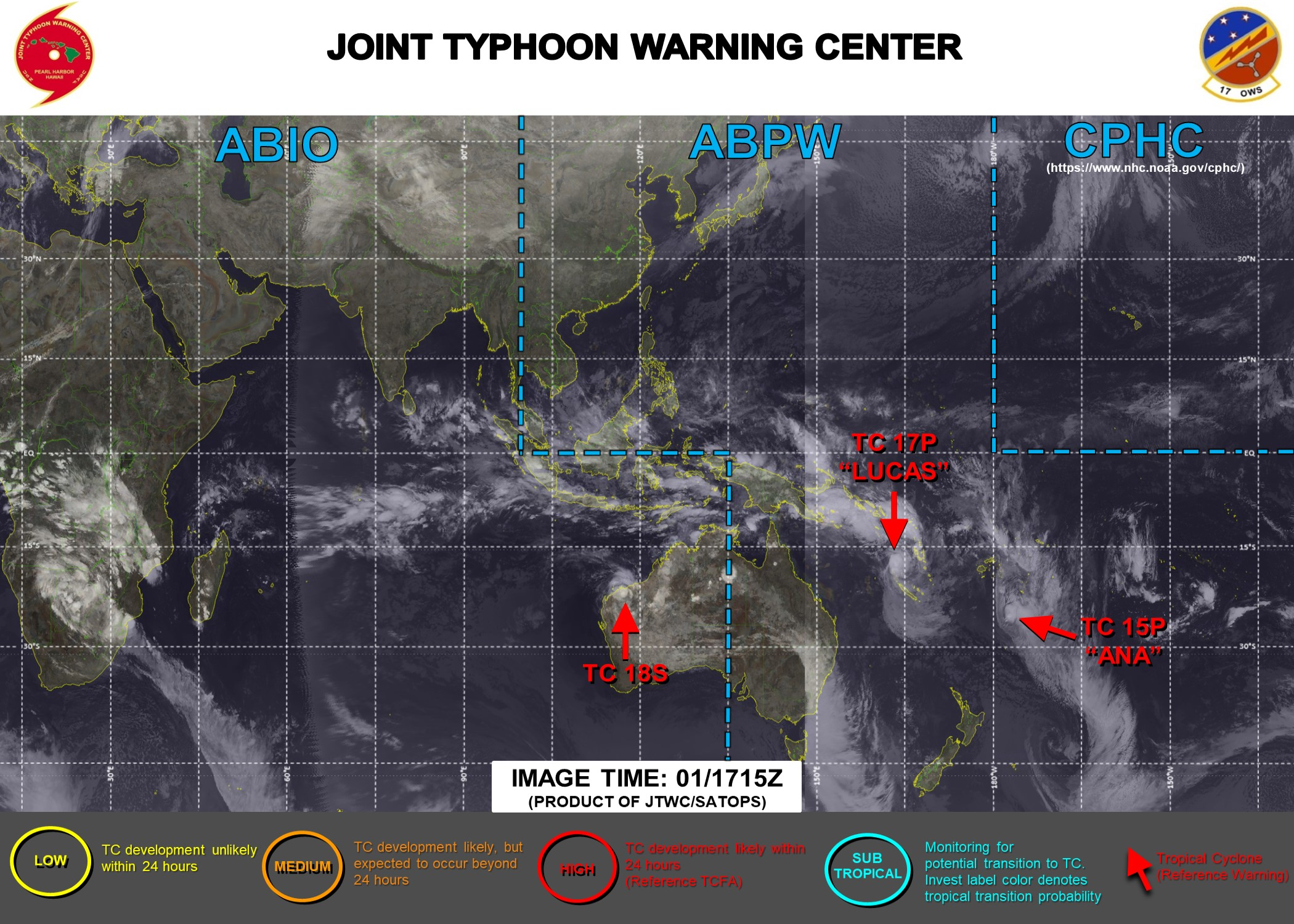 JTWC IS ISSUING 6HOURLY WARNINGS ON 17P(LUCAS) AND 18S. WARNING 12/FINAL WAS ISSUED AT 01/21UTC FOR 15P(ANA). 3 HOURLY SATELLITE BULLETINS ARE PROVIDED 15P,17P AND 18S.