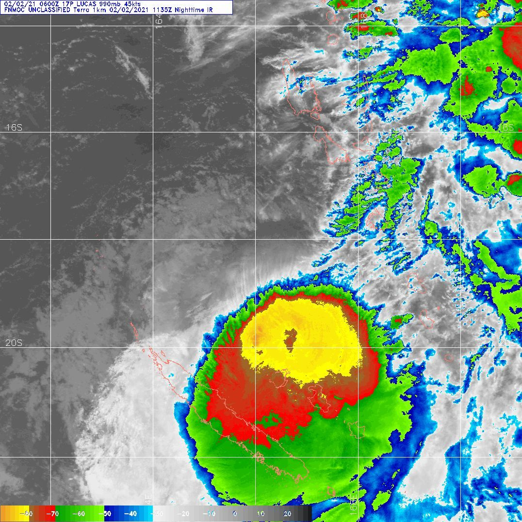 02/1135UTC. DMSP. ENHANCED INFRARED (EIR) SATELLITE IMAGERY DEPICTS FLARING CENTRAL  CONVECTION OBSCURING A LOW LEVEL CIRCULATION CENTER (LLCC).