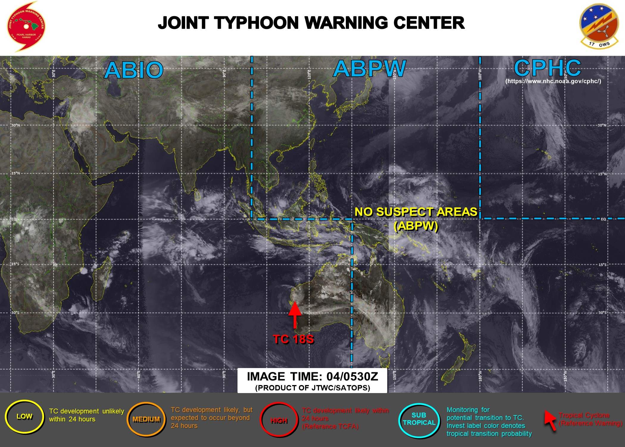 JTWC HAS BEEN ISSUING 6HOURLY WARNINGS ON 18S(NONAME). 3 HOURLY SATELLITE BULLETINS ARE PROVIDED FOR 18S AND THE REMNANTS OF 17P(LUCAS).