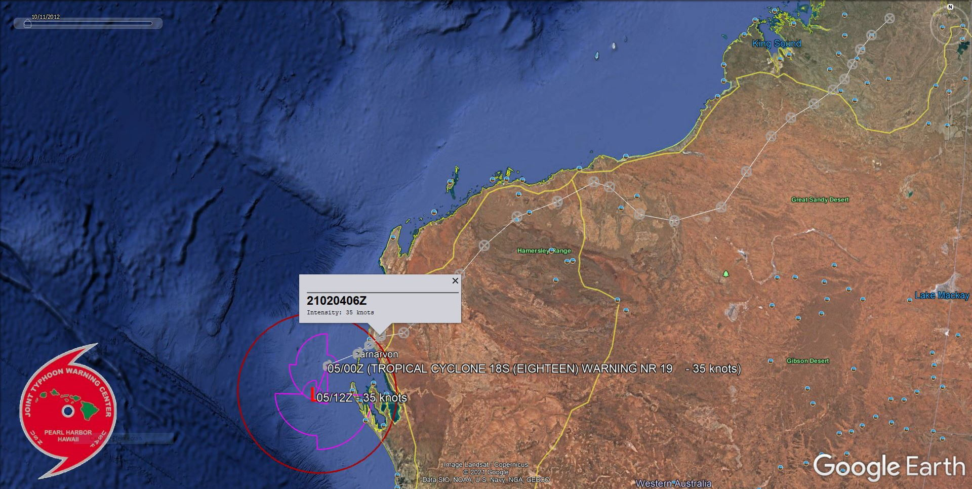 18S((EIGHTEEN). WARNING 19/FINAL. TC 18S WILL CONTINUE SOUTHWARD AS A SUBTROPICAL RIDGE BUILDS EAST OF THE  SYSTEM OVER WESTERN AUSTRALIA. DUE TO THE SOUTHWARD TRACK, THE SYSTEM  WILL MOVE UNDER THE SUBTROPICAL WESTERLIES WITH INCREASING VWS (30-45  KNOTS). TC 18S IS EXPECTED TO FULL TRANSITION INTO A SUBTROPICAL  CYCLONE AS IT TRACKS POLEWARD UNDER OVER COOLING SEAS.THE SYSTEM SPENT THE LARGE MAJORITY OF ITS LIFETIME OVER-LAND. PEAK INTENSITY WAS 35KNOTS.