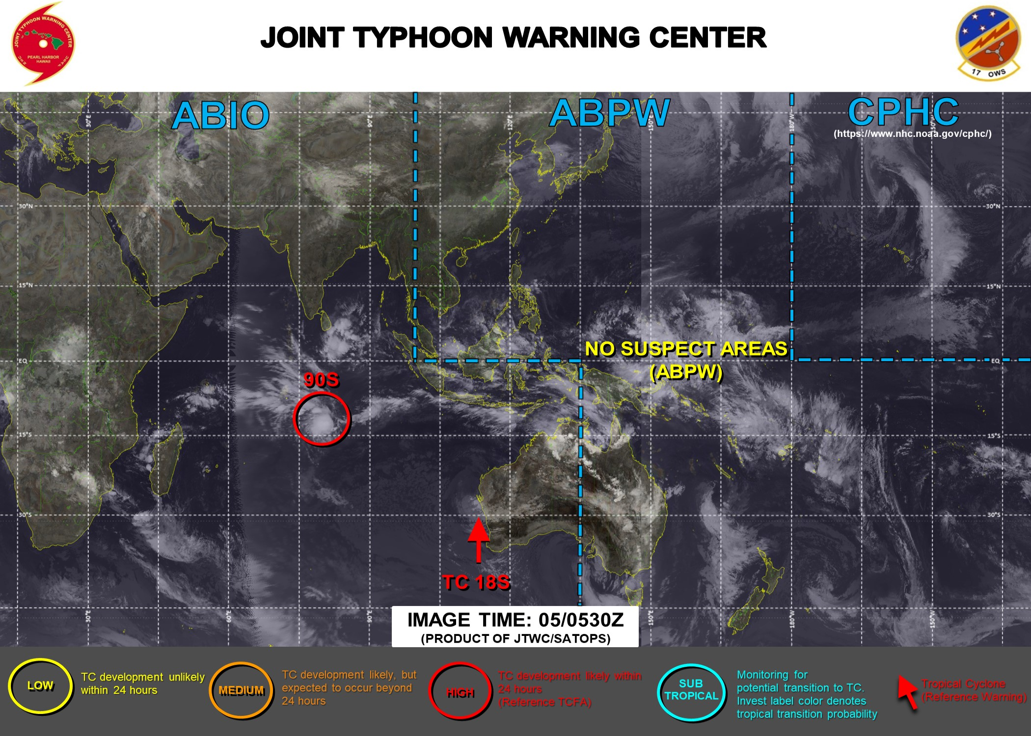 JTWC ISSUED FINAL WARNING ON 18S(NONAME) AT 05/03UTC. A TCFA IS ISSUED AT 05/06UTC FOR INVEST 90S. 3HOURLY SATELLITE BULLETINS ARE PROVIDED FOR BOTH SYSTEMS.