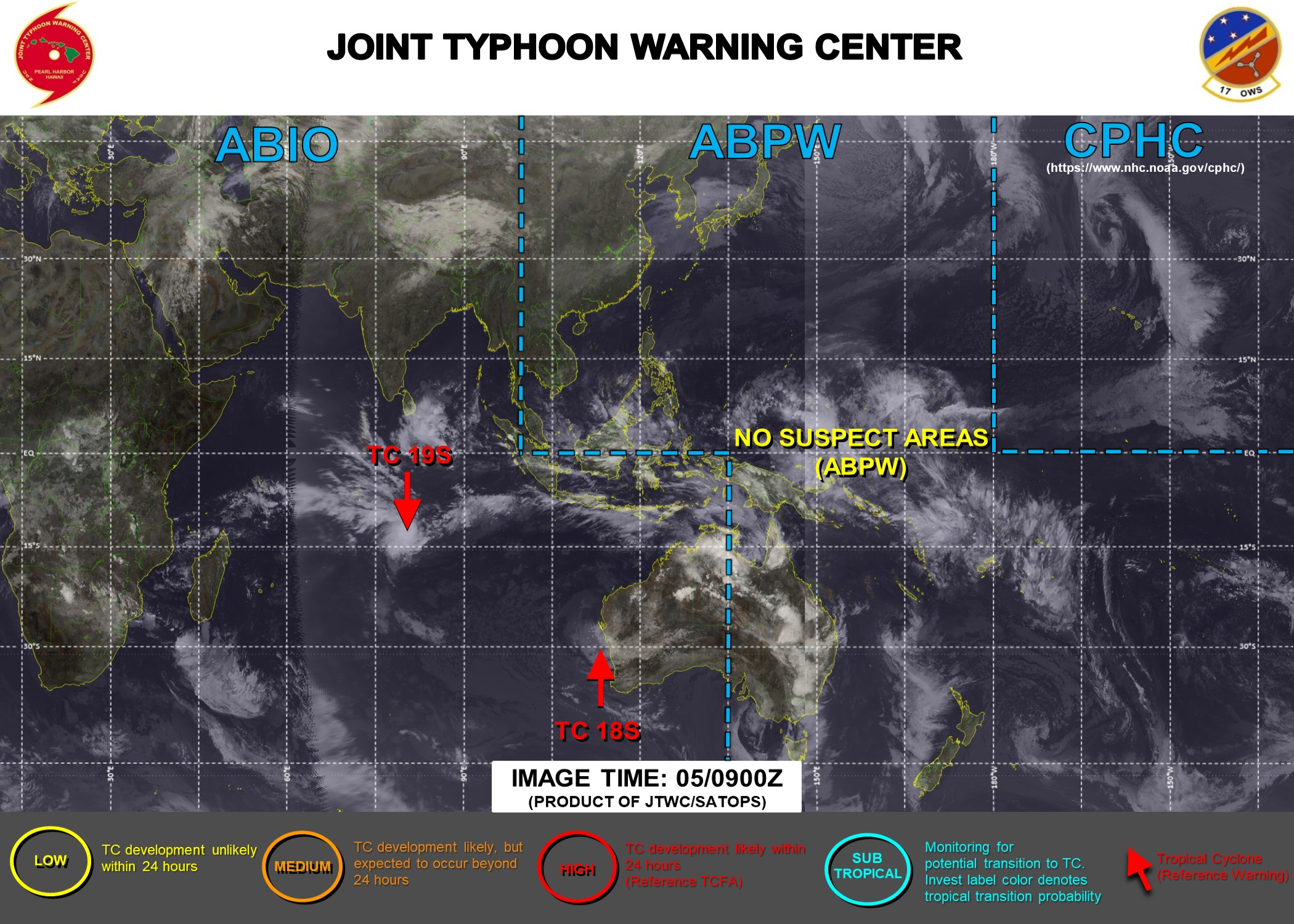 05/09UTC. JTWC IS ISSUING 12HOURLY WARNINGS ON 19S. 3HOURLY SATELLITE BULLETINS ARE PROVIDED FOR 19S AND 18S.